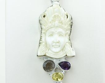 Lord Krishna DEER ANTLER TOTEM Goddess Face Moon Face Bone Carving 925 S0LID Sterling Silver Pendant + 4MM Chain p4295