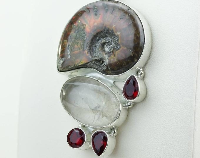 Rutile Quartz Ammonite Fossil Garnet 925 S0LID Sterling Silver Pendant + 4MM Snake Chain & Worldwide Shipping p4247