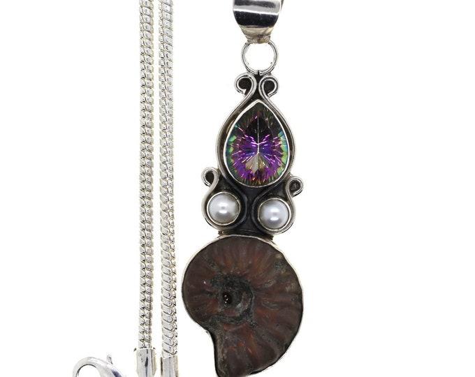 Ammonite Fossil Mystic Topaz Pearl 925 Sterling Silver Pendant  4MM Italian Snake Chain P848