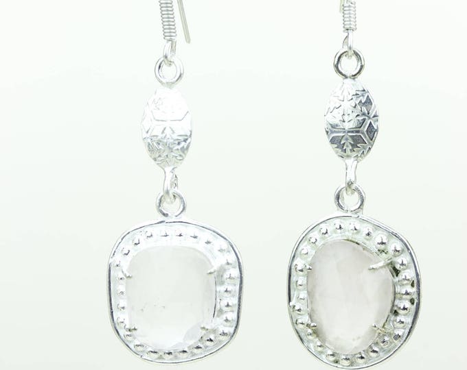 Rose Quartz Clear Topaz 925 SOLID (Nickel Free) Sterling Silver Italian Made Dangle Earrings e647