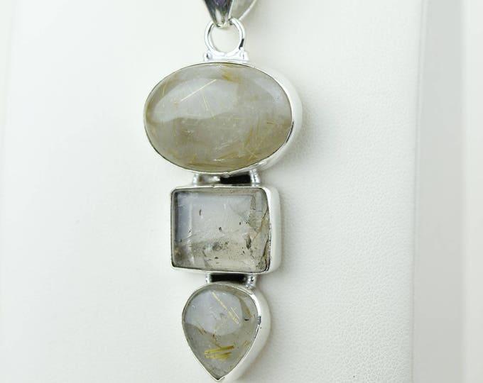 Rutile Quartz 925 S0LID Sterling Silver Pendant + 4MM Snake Chain p4183