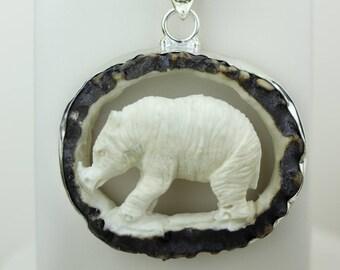 Deer Antler Carving! 3D RHINOCEROS TOTEM Hand Crved 925 S0LID Sterling Silver Pendant + 4MM Chain p4310