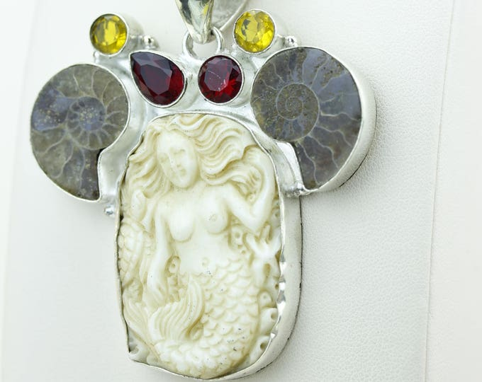 Mermaid TOTEM Turtle Ammonite Fossil Goddess Face Moon Face Bone Carving 925 S0LID Sterling Silver Pendant + 4MM Chain p3855