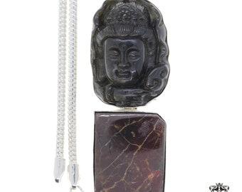 OBSIDIAN BUDDHA Ammolite 925 Sterling Silver Pendant  4MM Italian Snake Chain A40