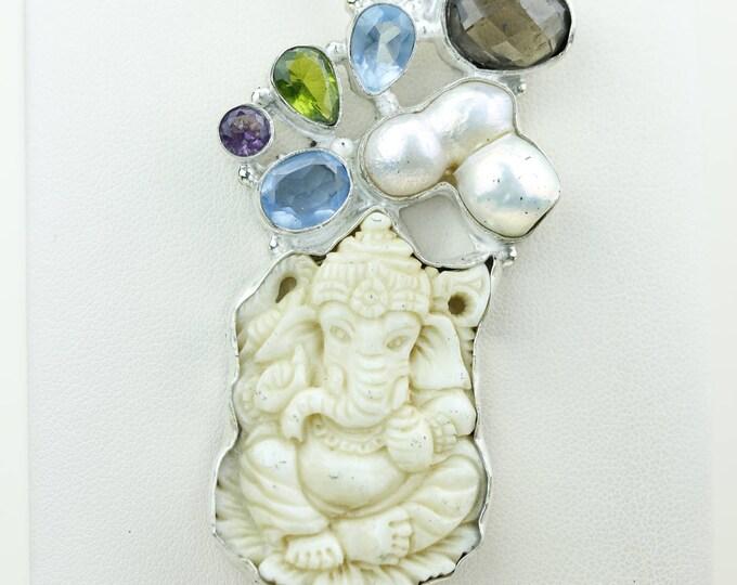 Elephant God Ganesha DEER ANTLER TOTEM Goddess Face Moon Face Bone Carving 925 S0LID Sterling Silver Pendant + 4MM Chain p4296