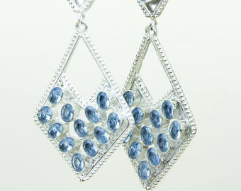 www.sarahdesignsjewelry.com Swiss Blue Topaz 925 SOLID (Nickel Free) Sterling Silver Italian Made Dangle Earrings e689