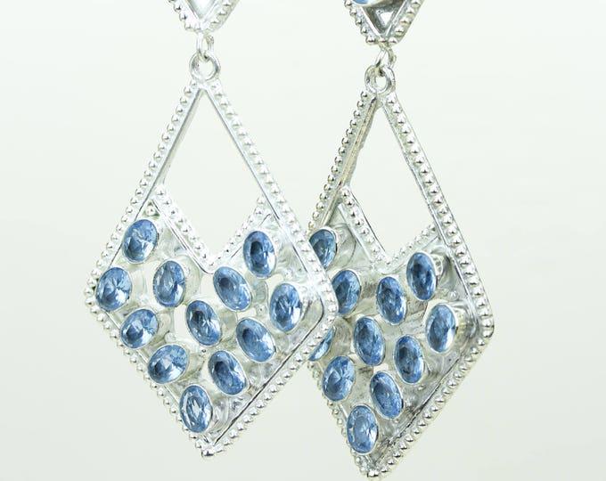 Swiss Blue Topaz 925 SOLID (Nickel Free) Sterling Silver Italian Made Dangle Earrings e689