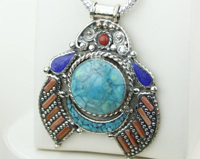 Rare! Turquoise Coral Native Tribal Ethnic Vintage Nepal Tibetan Jewelry OXIDIZED Silver Pendant + Chain P4346