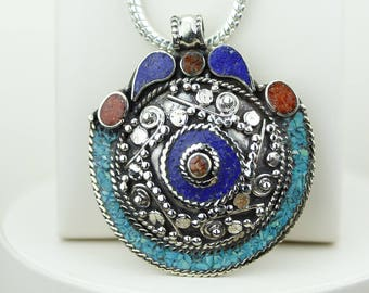 Lapis Turquoise Coral Native Tribal Ethnic Vintage Nepal Tibetan Jewelry OXIDIZED Silver Pendant + Chain P4265