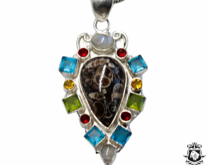 TURRITELLA Agate Blue Topaz Peridot Citrine Garnet 925 Sterling Silver + BONDED Copper Pendant Snake Chain & Worldwide Shipping P48545