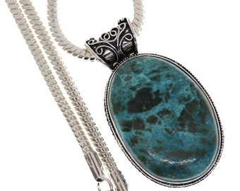 SHATTUCKITE Azurite Malachite EILAT Stone From Israel VINTAGE style Setting 925 S0LID Sterling Silver Pendant + 4MM Snake Chain P3204