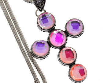 Crystal AURA Quartz VINTAGE STYLE Setting 925 S0LID Sterling Silver Pendant + 4MM Snake Chain P2984
