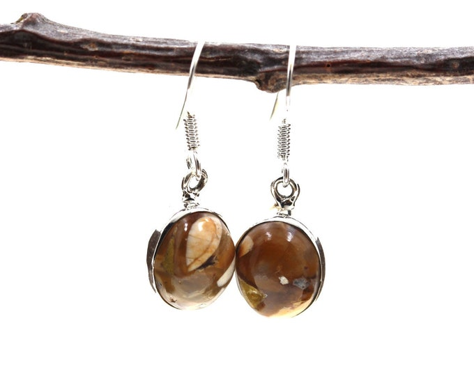 Brecciated Mookaite 925 SOLID Sterling Silver Earrings E61