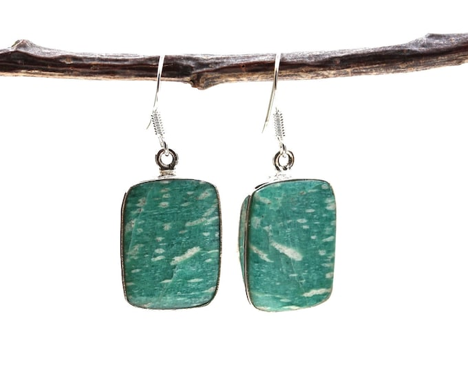 Amazonite 925 SOLID Sterling Silver Earrings E53