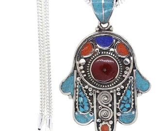 Hamsa Turquoise Coral Tibetan Silver Nepal Pendant 4MM Italian Snake Chain 4MM Snake Chain N40