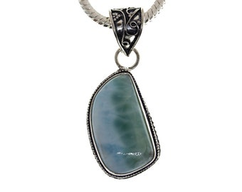 Caribbean LARIMAR 925 VINTAGE STYLE Setting S0LID Sterling Silver Pendant + 4MM Snake Chain P2912