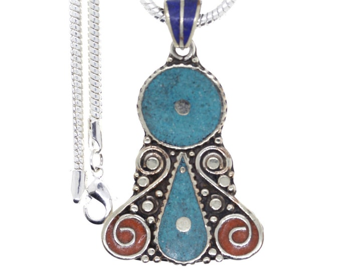 Turquoise Coral Tibetan Silver Nepal Pendant 4MM Italian Snake Chain 4MM Snake Chain N25