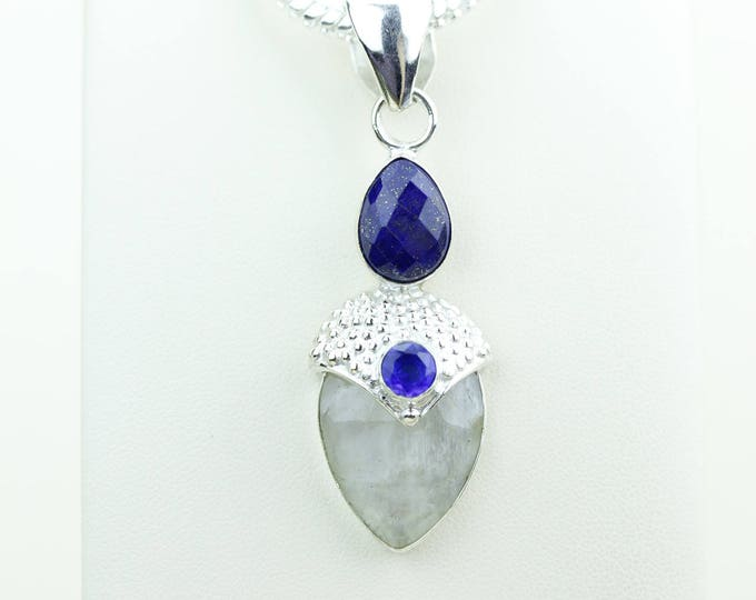 Lapis Moonstone 925 S0LID Sterling Silver Pendant + 4MM Snake Chain & Worldwide Shipping p4072