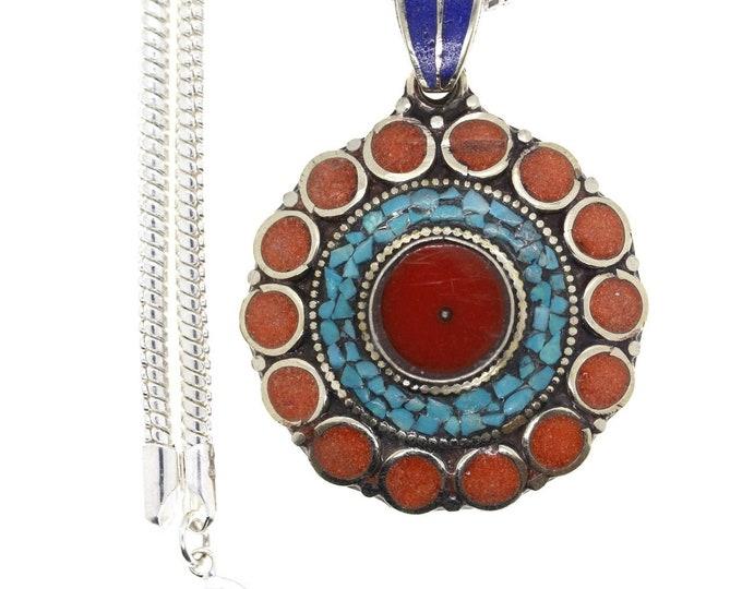 Turquoise Coral Lapis Tibetan Silver Nepal Pendant 4MM Italian Snake Chain 4MM Snake Chain N30