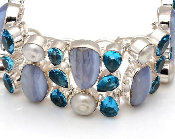 Blue Lace Agate Pearl Bracelet B3767