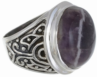 BUY This One! CHEVRON Amethyst SIZE 8 (Nickel Free) 925 Fine S0LID Sterling Silver Ring R2694