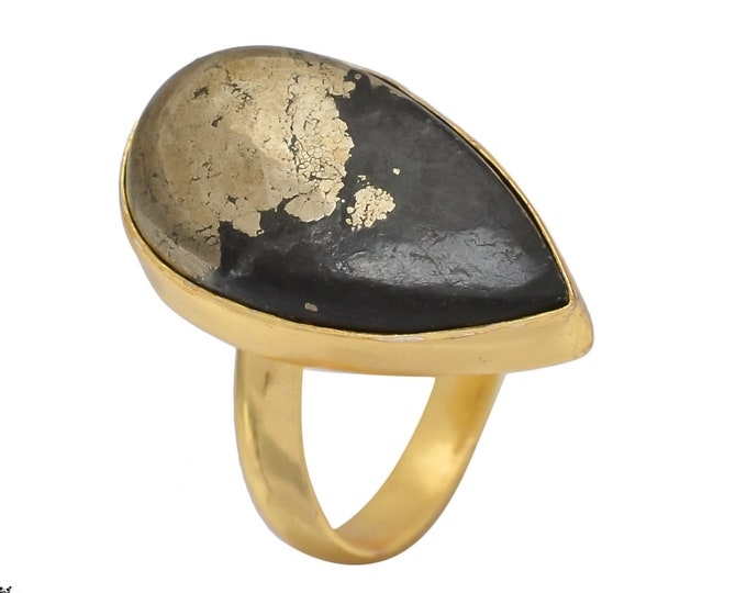 Size 8.5 - Size 10 Adjustable Marcasite 24K Gold Plated Ring GPR454