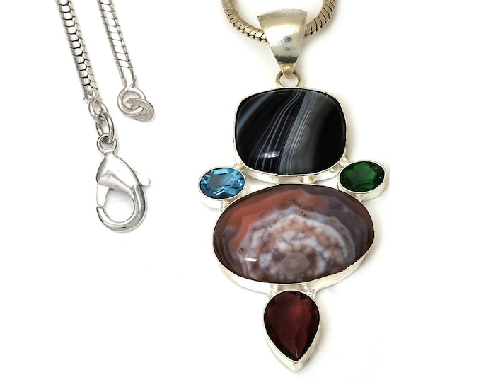 Crazy Lace Agate Pendant 4MM Italian Snake Chain P7521