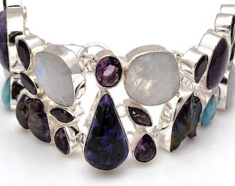 Uneven Abalone Pearl Moonstone Charoite Bracelet B3784