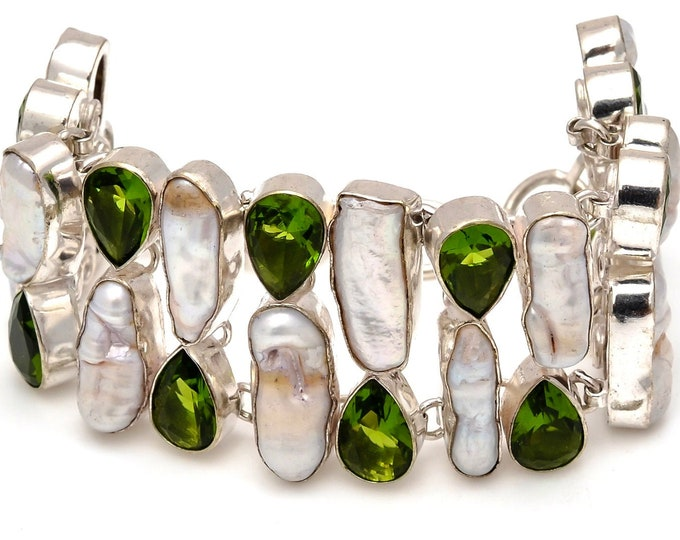 Pearl Peridot Bracelet B3733
