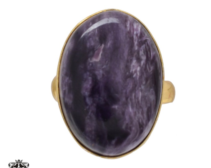 Size 7.5 - Size 9 Adjustable Charoite 24K Gold Plated Ring GPR476