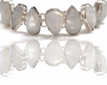 Rainbow Moonstone Genuine Gemstone Bracelet B4312