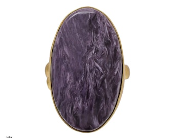 Size 9.5 - Size 11 Adjustable Charoite 24K Gold Plated Ring GPR487