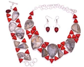 Crazy Lace Agate Coral Necklace Bracelet Earrings Set 887