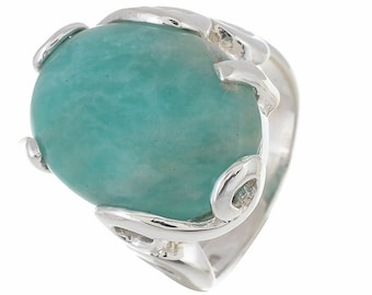 The Real Good Stuff! Australian AMAZONITE SIZE 8 (Nickel Free) 925 Fine S0LID Sterling Silver Ring R2697