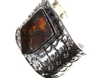 Classy Creation! GENUINE Canadian AMMOLITE 925 S0LID Sterling Silver Bangle Cuff & Worldwide Express Shipping B1310