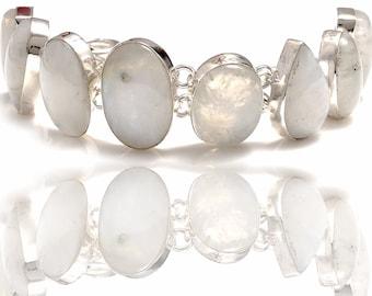 Rainbow Moonstone Genuine Gemstone Bracelet B4298