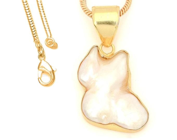 Mabe Biwa Pearl 24K Gold Plated Pendant 3MM Italian Snake Chain GPH1704