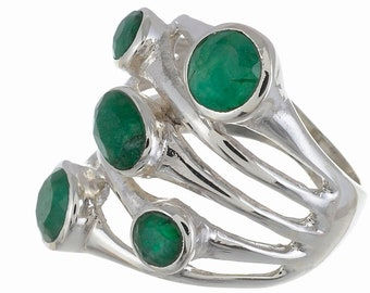 For the Special Occasion! EMERALD SIZE 8 (Nickel Free) 925 Fine S0LID Sterling Silver Ring R2692