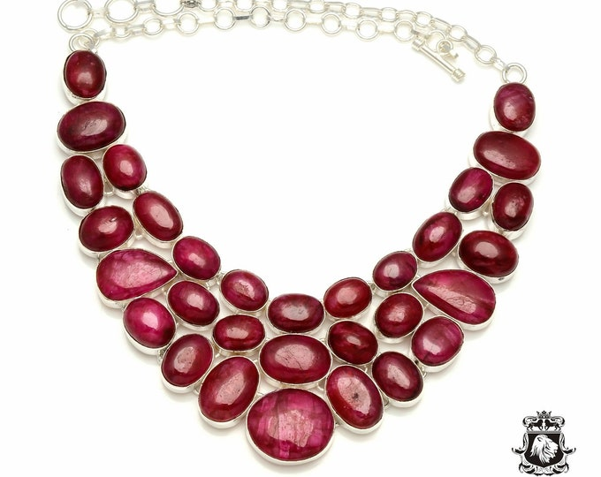 Kashmir Polished RUBY Cabochon 925 Sterling Silver + Copper Bonded Necklace & Worldwide Express Tracked Shipping N6114
