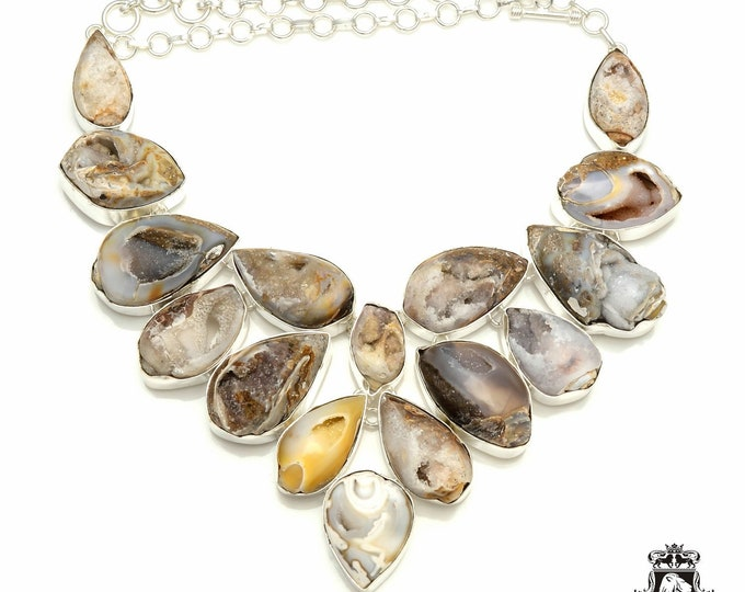 Totally Unique! HUGE Size Crystalized Fossilized Shells 925 Sterling Silver + Copper Bonded Necklace & Worldwide Express Shipping N6102