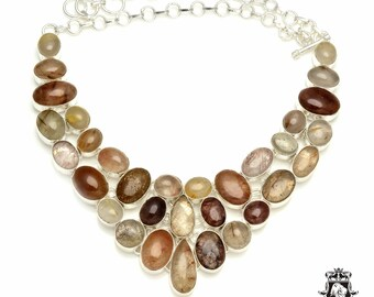 Mixed Shades of Colors! AAA grade RUTILE RUTILATED Quartz 925 Sterling Silver + Copper Bonded Necklace & Worldwide Express Shipping N6120