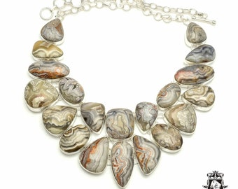 Prime Grade! Mexican CRAZY LACE AGATE 925 Sterling Silver + Copper Bonded Necklace & Worldwide Express Tracked Shipping N6119