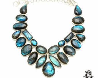 Opulent! AAA grade expertly arranged Genuine CANADIAN LABRADORITE 925 Sterling Silver + Copper Bonded Necklace & Worldwide Shipping N6128