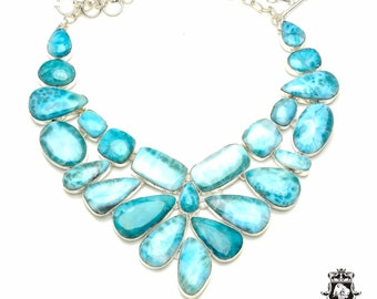 Looks Fantastic in Person! AAA Grade ULTRA Ocean Blue Top Notch Genuine Caribbean LARIMAR 925 Sterling Silver + Copper Bonded Necklace N6130