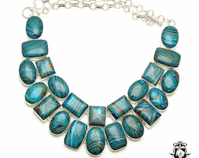 fashionista! RAINBOW CALSILICA 925 Sterling Silver + Copper Bonded Necklace & Worldwide Express Tracked Shipping N6112
