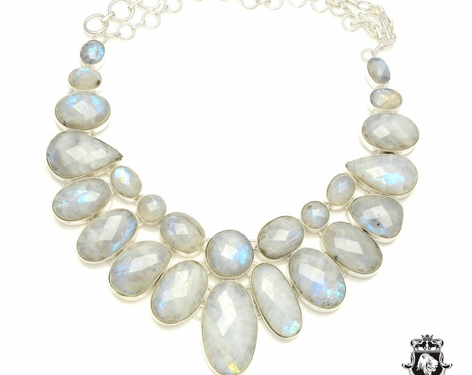 Faceted Sri-Lanka Moonstone 925 Sterling Silver + Copper Bonded Necklace & Worldwide Express Tracked Shipping N6124