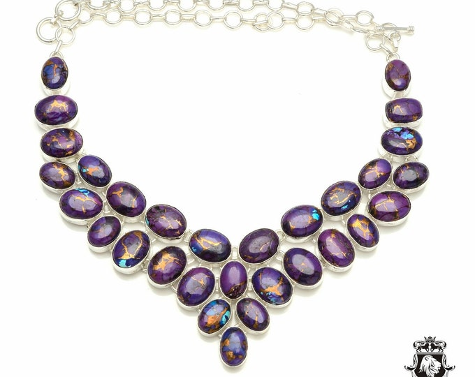 Purple MOHAVE TURQUOISE 925 Sterling Silver + Copper Bonded Necklace & Worldwide Express Tracked Shipping N6105