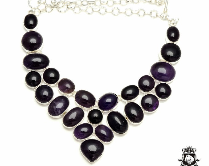 Genuine JAPANESE AMETHYST Cabochon 925 Sterling Silver + Copper Bonded Necklace & Worldwide Express Tracked Shipping N6109