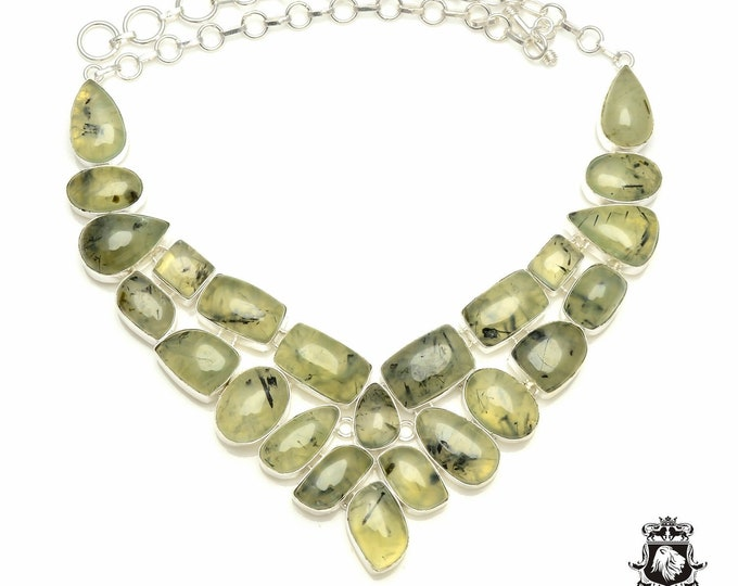 South African PREHNITE 925 Sterling Silver + Copper Bonded Necklace & Worldwide Express Tracked Shipping N6101