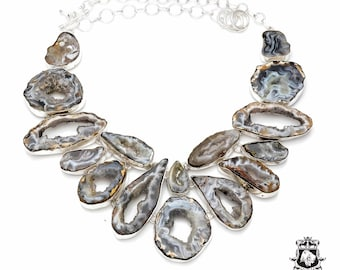 GEODE Agate Multi-Layered 925 Sterling Silver + Copper Bonded Necklace & Worldwide Express Tracked Shipping N6133